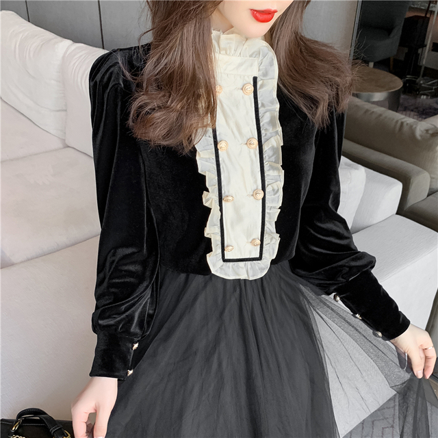 New Spring Vintage Blouse Women Long Sleeve Double Breasted Shirt Velvet Tops Stand Collar Ruffles Patchwork Sweet Blouses 5