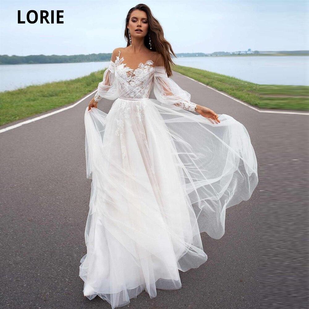 LORIE 2020 A-line Beach Wedding Dress Long Sleeve Sweep Train Bridal Dress Custom Made Princess Bridal Gowns Boho Plus Size