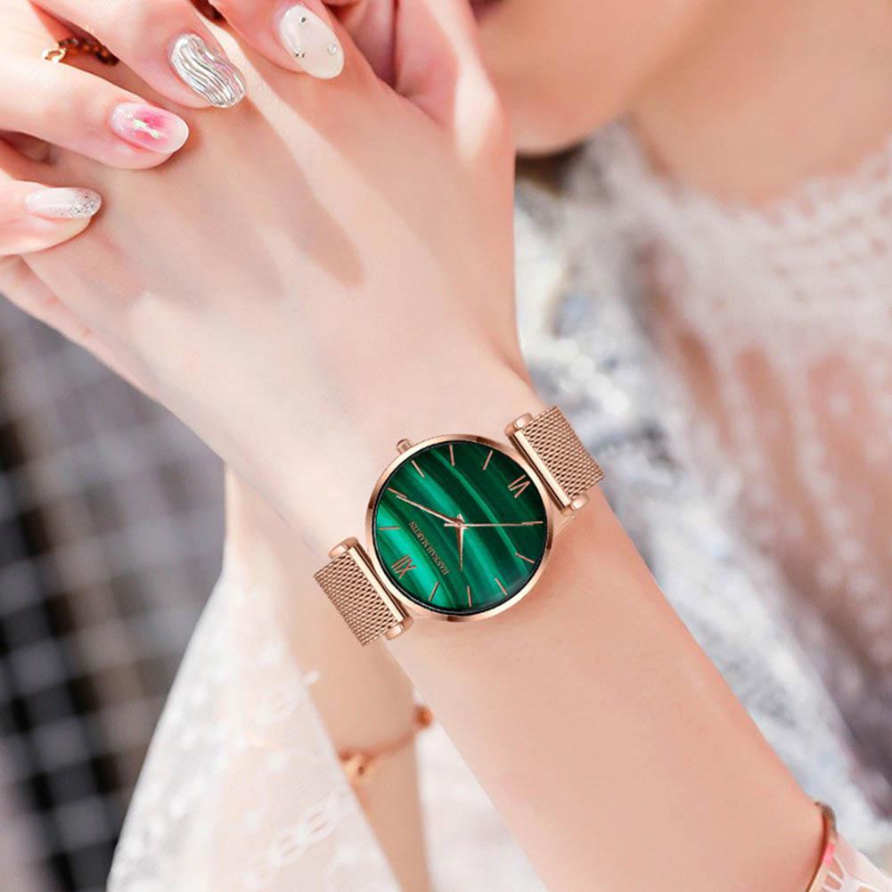 GloryStar Hannah Martin Women Quartz Watch Green Dial Waterproof Fashion Business Wristwatch