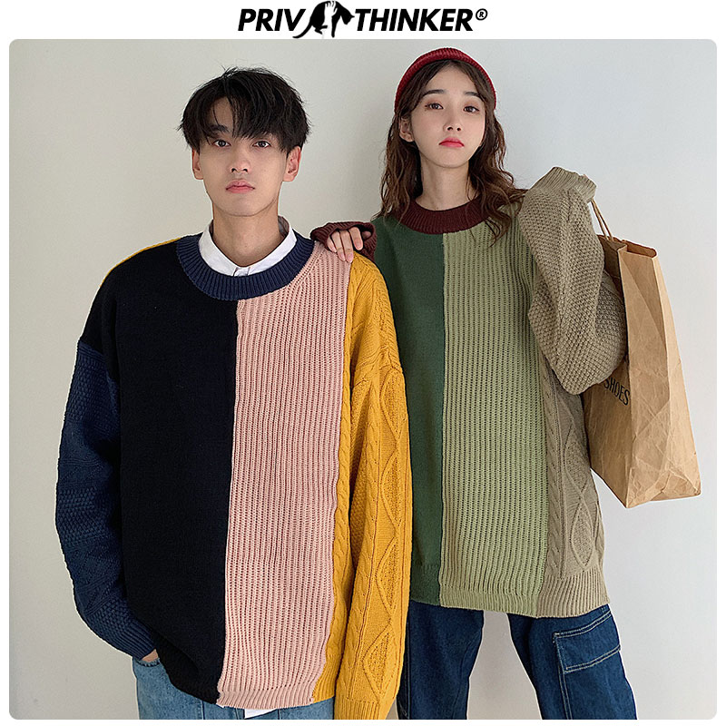 Privathinker Lovers Autumn Winter O-Neck Pullovers Sweaters Men Woman Knitted Patchwork Clothing Couple Colorful Sweater 2019