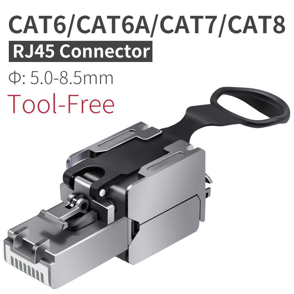 CNCOB безинструментальный цинковый сплав, экранированный разъем 8P8C RJ45, совместимый с разъемами Cat6/Cat6A/Cat7/Cat8 для кабеля Ethernet