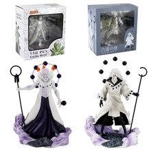 Naruto shippuden figura de ação madara uchiha obito rikudou sennin modo com arma anime collectible modelo brinquedo
