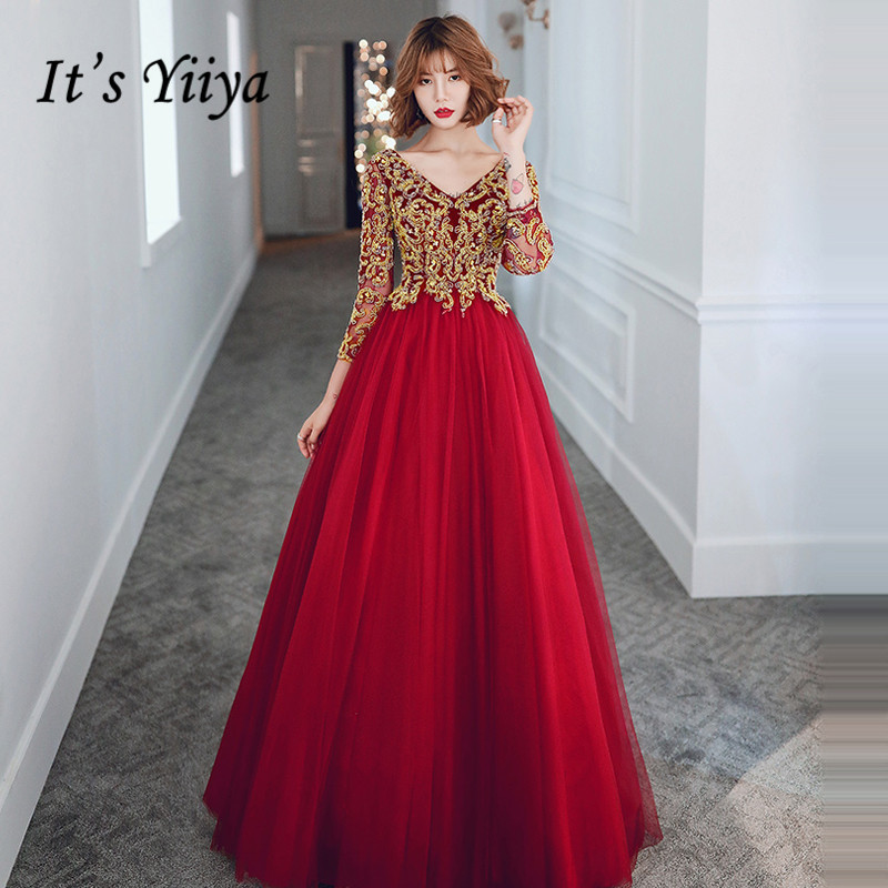 It's Yiiya Evening Dresses Elegant V-neck Three Quarter Sleeve Party Gowns Plus Size Burgundy Gold Lace Robe De Soiree LF010