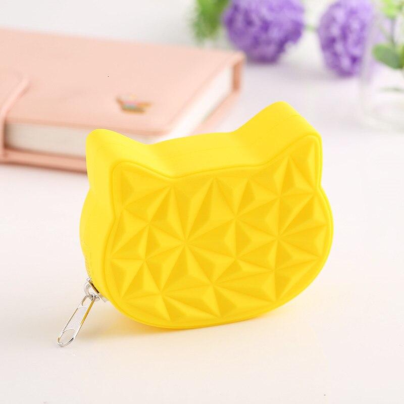 2019 Cute Cat Women Silicone Short Wallet Girls Mini Coin Purse Key Wallet For Female Daily Clutch Purse Bluetooth Earphone Bags