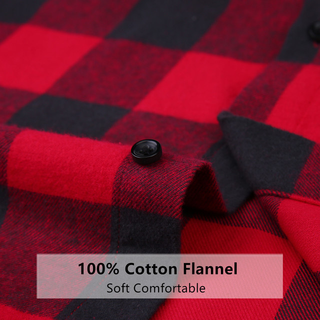 100% Cotton Flannel Plaid Slim Fit Brand Casual Soft Comfortable 4XL 2