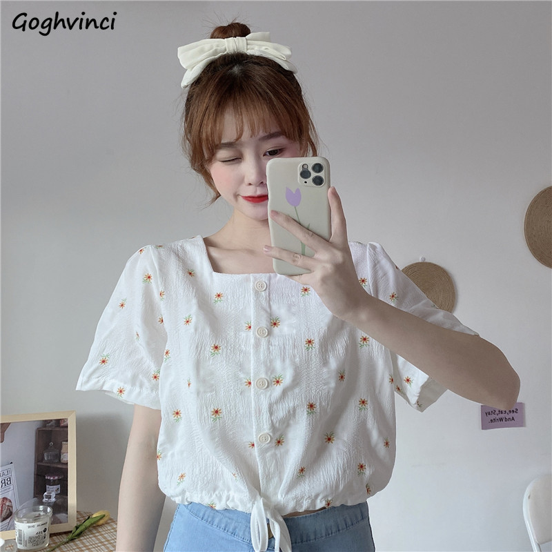 Women Blouses Square-collar Summer Lace-up Printed Daisy Sweet Girls Tops Shirts Korean Style Chic Casual Stylish Simple Elegant