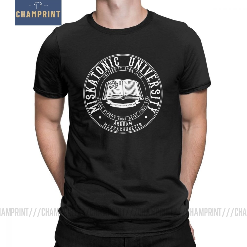 Men Call Of Cthulhu Miskatonic University Book Club T-Shirt Lovecraft Novelty O Neck Short Sleeve Tops Pure Cotton Tees T Shirt