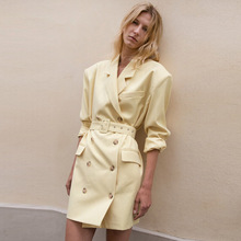 2019 Double-breasted Suit Outerwear Minimally Skinny Waistband Loose Mid-Long Suit Notched Button Women Jackets and Coats Suit