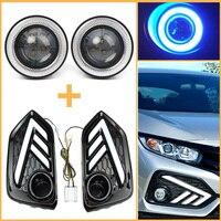 2Pcs Car Daytime Running Turn Signal Light LED DRL w/ COB Angel Eye Kit For Honda Civic 2017 2018 2019