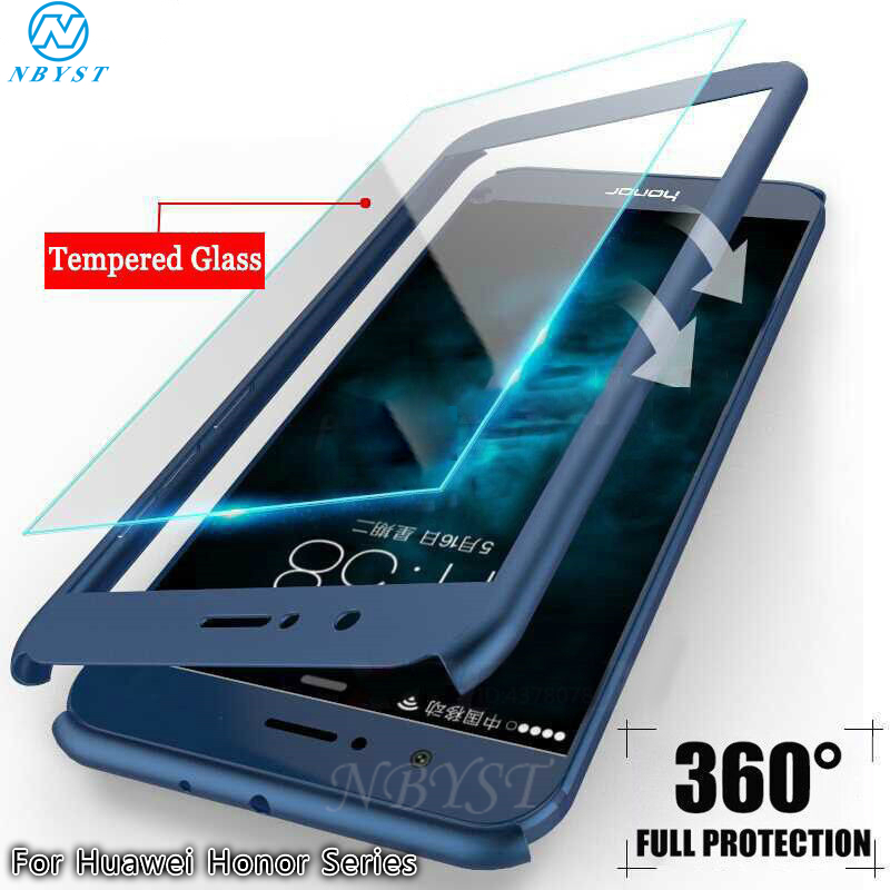360 Degree Full Cover Protect Case For Huawei Honor 6X 6C 7A 7C 7X 8A 8S 8X 9 10i 20 PRO Play 2-IN-1 Ultra Thin Cover WITH Glass image