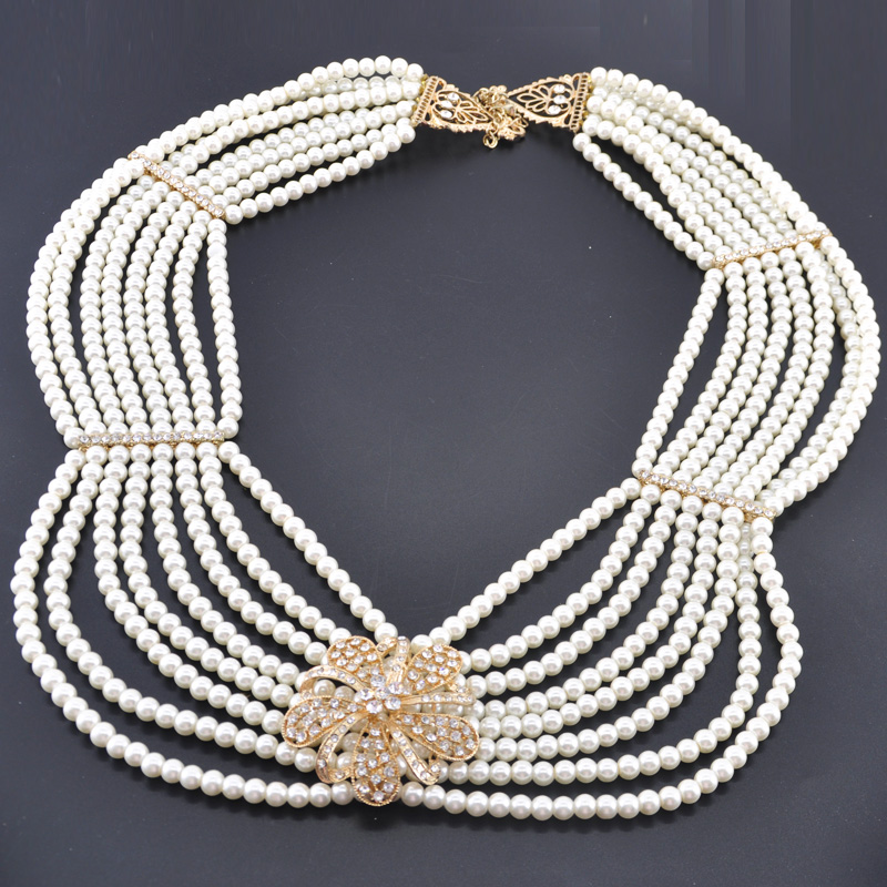 Antique KG or collier collier perle collier ras du cou chaîne arabe mode Costume bijoux collier