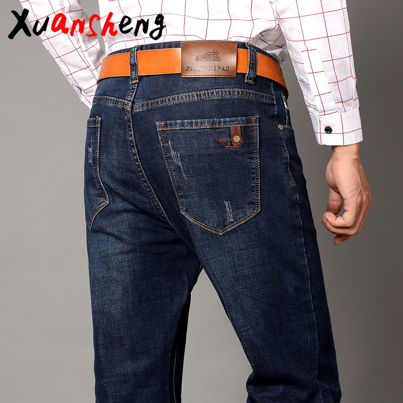 Xuan Sheng Straight Tube Men's Jeans 2019 Blue Black Stretch Brand Classic Trousers Fashion Cat Claws Streetwear Clothes Jeans