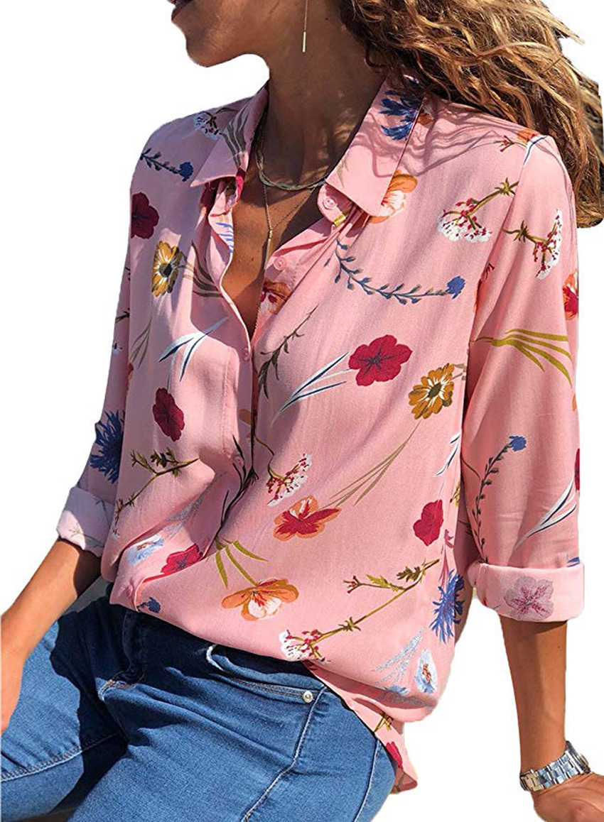 women blouse fashion 2020  female ladies clothing womens sexy flower printed floral long sleeve autumn fall top shirt top 90s
