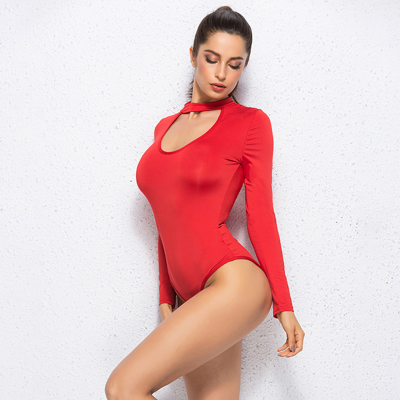 High Quality Women Sexy Romper Deep V Neck Bodycon Body Suit One Piece Fitness Overalls For Women Female Long Sleeve Bodysuits