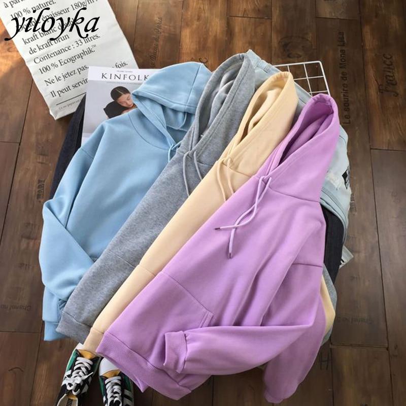 2020 Winter Casual Fleece Women Hoodies Sweatshirts Long Sleeve Yellow Girl Pullovers Loose Hooded Jacket Female Thick Coat