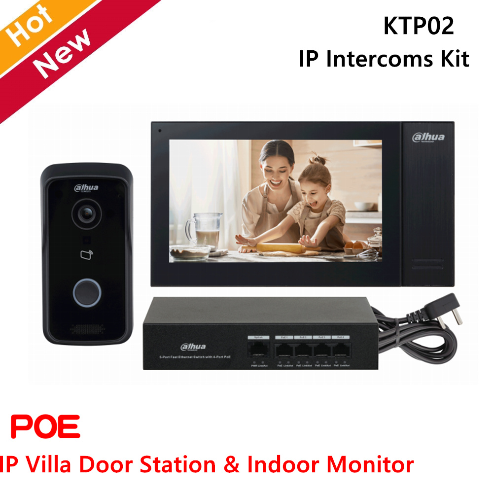 Dahua Video intercomunicadores Kit IP Villa, estación de Puerta y Monitor interior de 2 vías de voz y POE Embeded 8GB tarjeta SD
