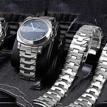 24mm sólido aço fino relógio com banda de aço para panerai pam441 111 382 masculino relógio borboleta fivela acessórios frete grátis