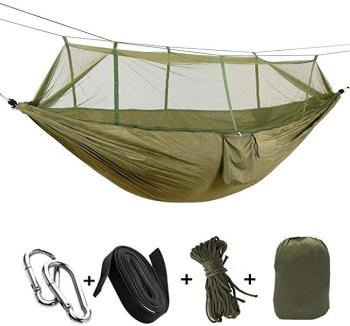 Outdoor Mosquito Net Parachute Hammock Camping Hanging Sleeping Bed Swing Portable Double  Hammock 1-2 Person ultralight outdoor camping hunting mosquito net parachute hammock 2 person flyknit hammock garden hammock hanging bed