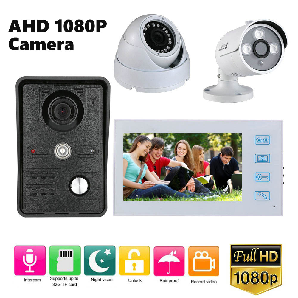 1080P Video Intercom System 7 Inch Record Video Touch Monitor Wired Video Door Phone Doorbell Kits With 2CH AHD 1080P Camera