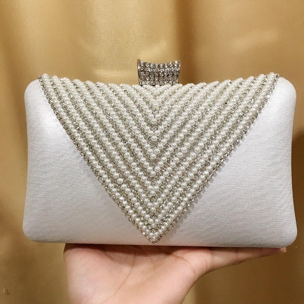 Fashion V-Shaped Diamond Pearl Evening Bag Diamond Set WOMEN'S Bag Silver Bride Formal Dress Handbag AliExpress
