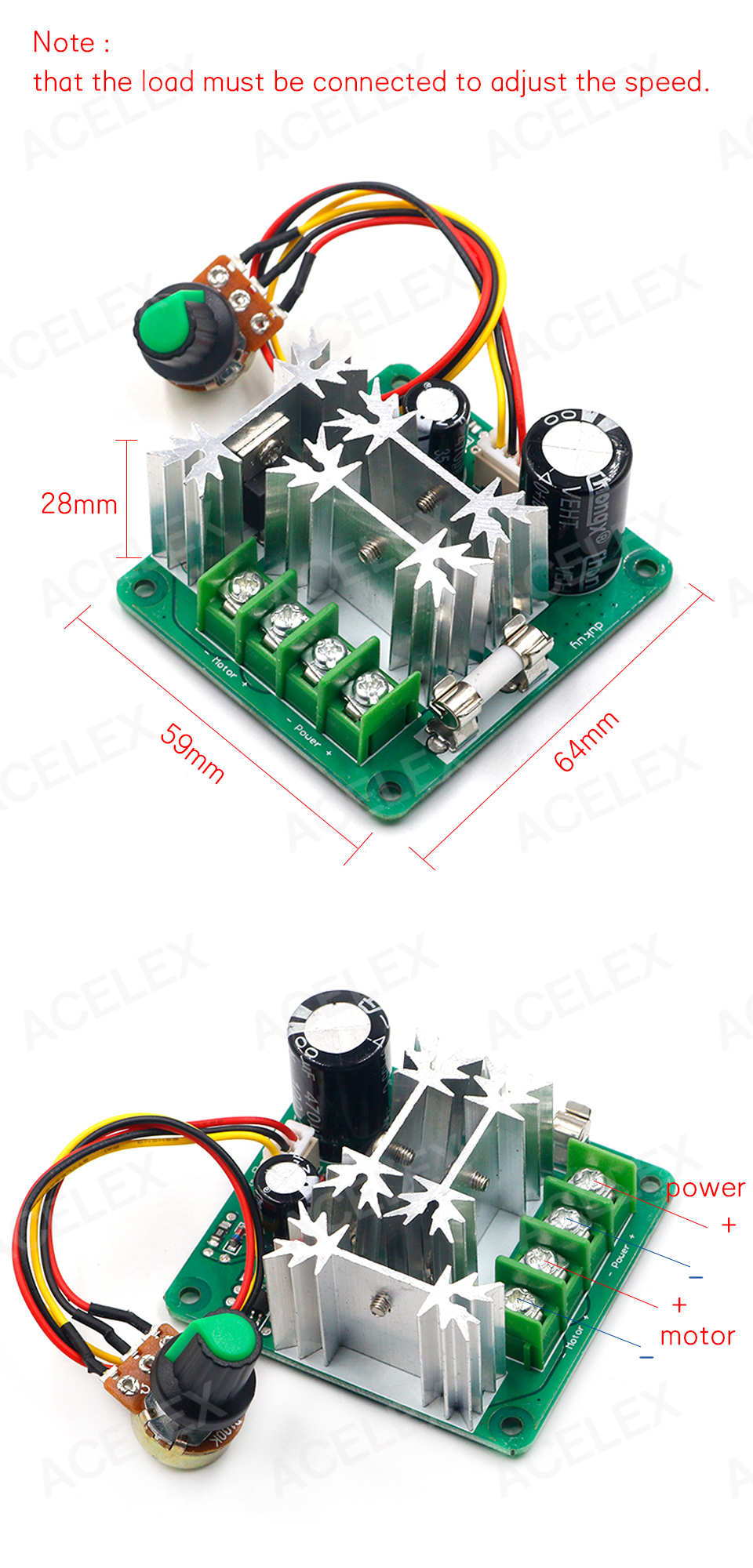 Hf48f7d77edd84834b1a26077f50ce53ex - DC 6V-90V 15A DC Motor Speed Controller Stepless Speed Regulation Pulse Width PWM DC 12V 24V 36V 48V 1000W
