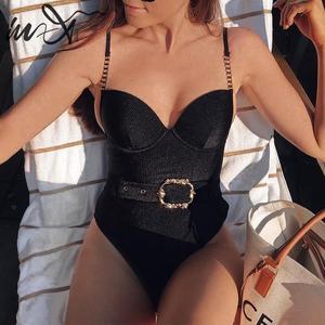 Image 1 - In X Riem Bodysuit Een Stuk Pakken Sexy Push Up Badmode Vrouwen Fluwelen Monokini Retro Badpak Zomer Zwemmers solid Badpak