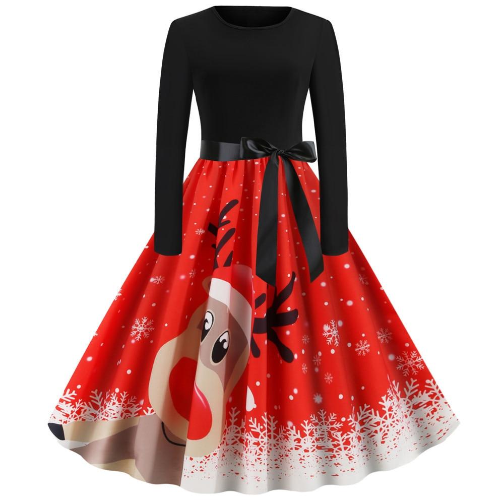 Elegant Winter Christmas Dresses Women Robes Vintage Pin up Xmas Party Long Sleeve New Year Dress Knee-Length Print Black A-Line