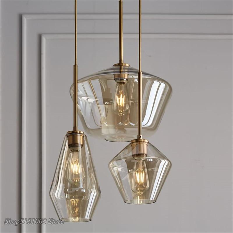 Nordic Glass Modern Pendant lights Fixtures Loft LED Hanging Pendant Lamp for Kitchen Restaurant Living Room Bedroom E26 E27|Pendant Lights| |  - title=