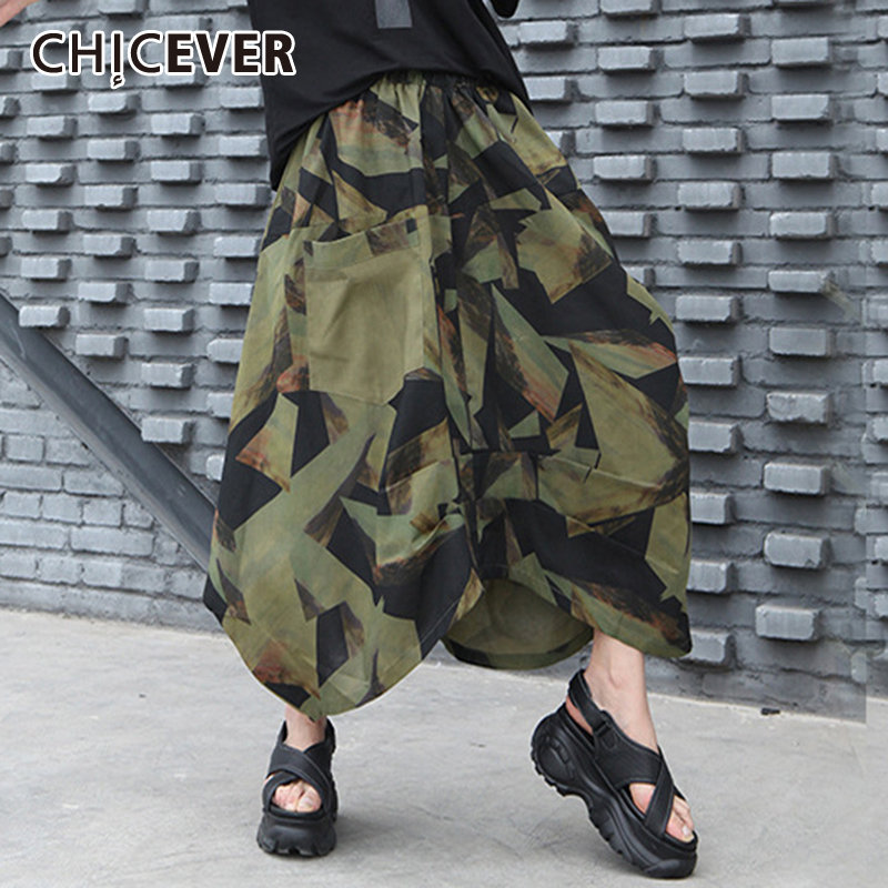 CHICEVER Irregular Camouflage Dress For Women High Waist Pocket Oversize Loose Asymmetric Midi Skirts 2020 Summer New Clothes