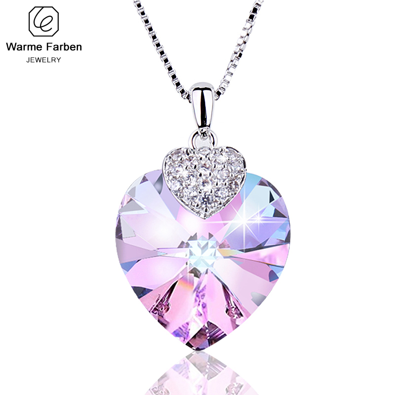 Warben Farben Embellished With Crystals From Swarovski Heart Amethyst Pendant Necklace Fashion Jewelry Choker Necklace Collares
