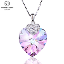 Warben Farben Embellished with Crystals From Swarovski Heart Amethyst Pendant Necklace Fashion Jewelry Choker Necklace Collares lekani crystals from swarovski necklace925 ms exquisite prom necklace christmas snowflake square pendant necklace