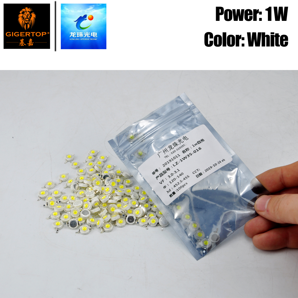 Freeshipping 100PCS 1W White Color Led Lamp For Led Stage Lighting Products Repair Cool White 7000k-7700k Cold White