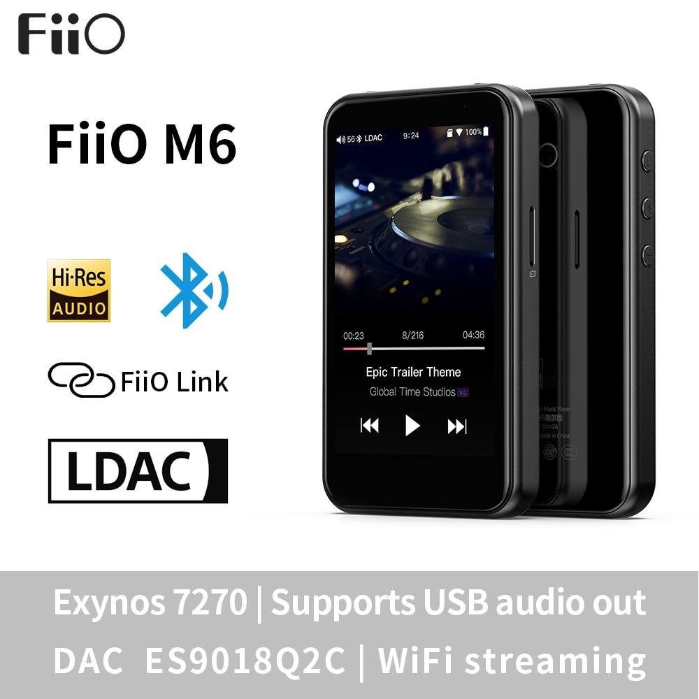 Fiio m6 hi-res android baseou o jogador de música com aptx hd, ldac de alta fidelidade bluetooth, usb audio/dac, suporte dsd e wifi/jogo de ar
