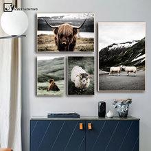 Pecore Orso Animale Selvatico Poster Da Parete Nordic Natura Paesaggio Stampa Scandinavo della Tela di Canapa Pittura di Arte Moderna Della Decorazione Della Casa Immagine