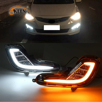 цены 1Set LED DRL For Hyundai Accent Solaris 2010 2011 2012 2013 Daytime Running Light fog lamp Cover with turn signal