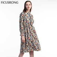 Jesień sztruks kwiatowy wzór w stylu Vintage kołnierz z długim rękawem sukienka kobiety sukienka z lamówką wysoka elastyczna talia drukuj damska sukienka FICUSRONG