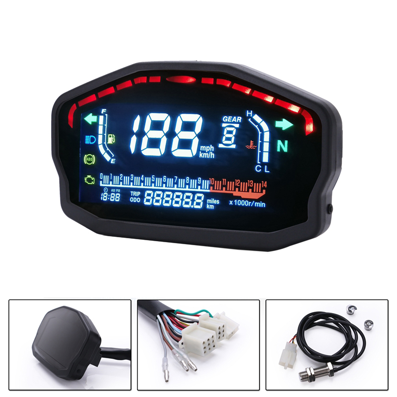 Motorcycle Universal Led Liquid Crystal Speedometer Digital Odometer Speed Adjustable 1-6 Speeds for Bmw Honda Ducati Kawasaki