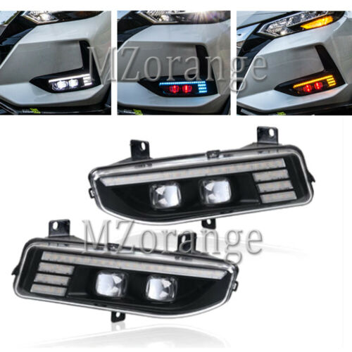 LED Fog Lights For Nissan X-trail T32 Rogue Kicks P15 Note E12 Leaf ZE1 Qashqai MK2 Versa MK2 Serena C27 2017-2020 Fog Light DRL
