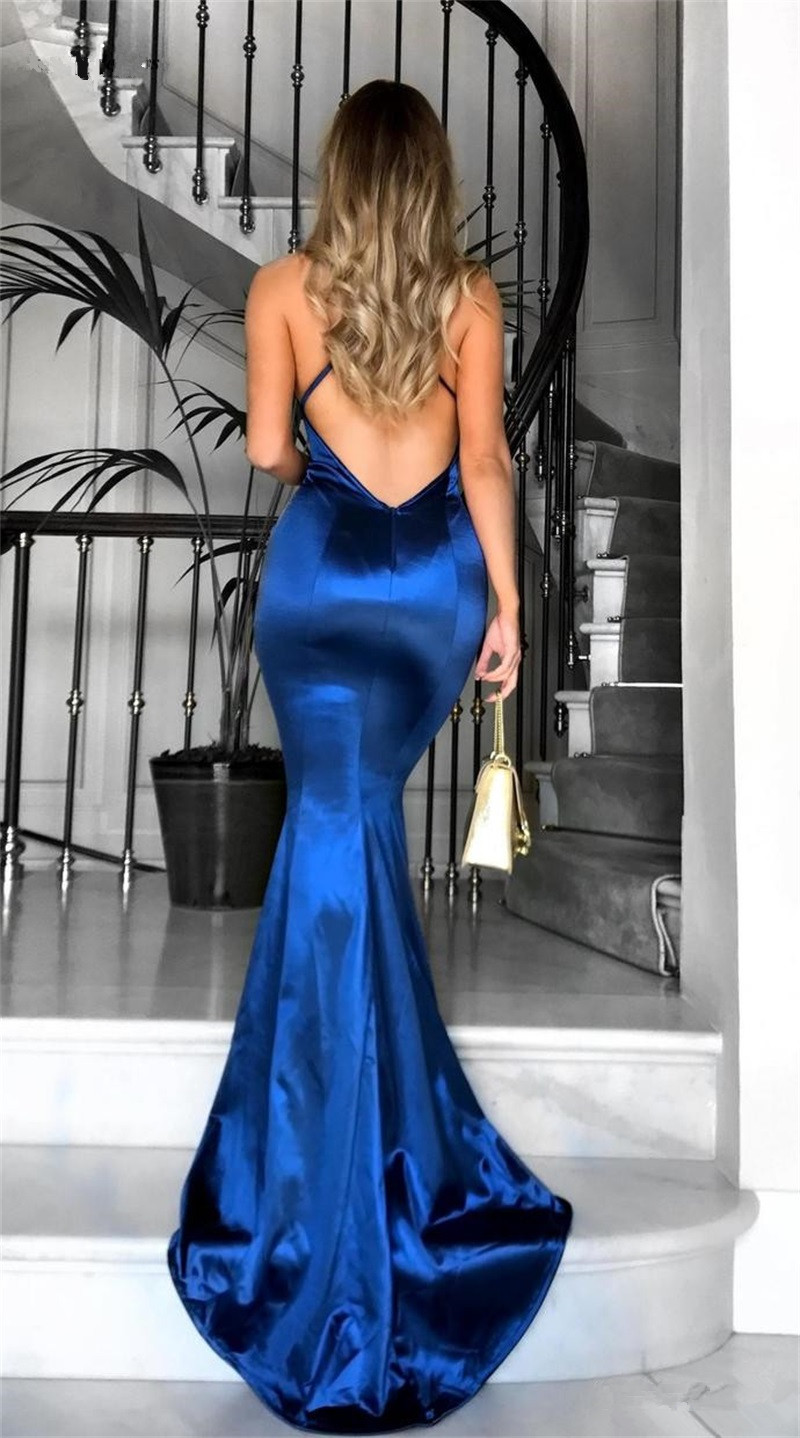 vestido madrinha Mermaid Bridesmaid Dresses 2020 V-Neck Open Back Sweep Train Maid of Honor Dress Wedding Guest Party Gowns