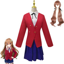 Anime tigre x dragão aisaka taiga cosplay trajes saia superior casaco roupas femininas conjuntos uniformes peruca cabelo sintético festa de halloween