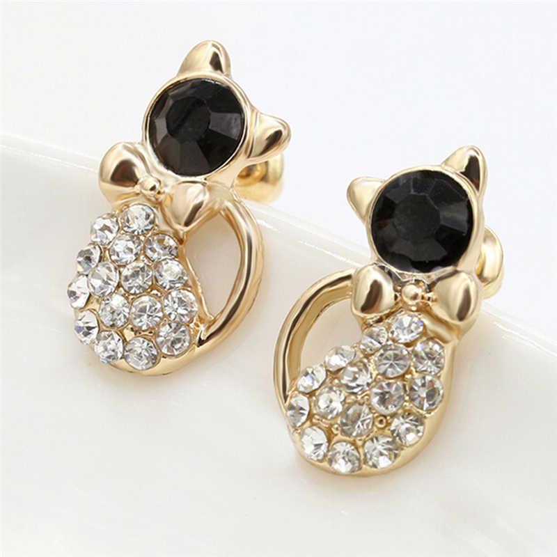 Di Modo Brinco Pequeno Cute Cat Ear Orecchini con Perno Della Signora Elegante di Cristallo Del Rhinestone Dei Monili di Regalo per Le Donne