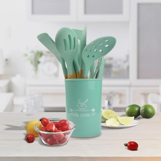 Utensílios de cozinha de silicone conjunto de utensílios de cozinha resistente ao calor cozinha antiaderente utensílios de cozinha ferramentas de cozimento 2