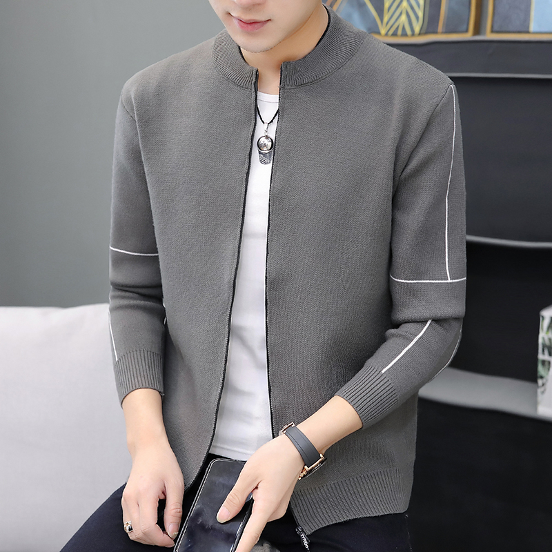 Autumn Winter Mens Sweaters Knitted Cardigan Knitting Clothing Man's Knitwear Sweater coats Tops Pure Color Jacket