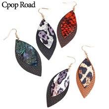 Cpop New Fashion Glitter Genuine Leather Earring Leaf Leopard Jewelry Women Accessories Hot Sale Gift Wholesale