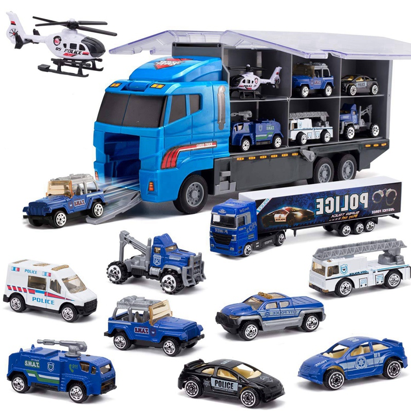 10-In-1 Police Transport Truck, Mini Die-Cast Toy Car, Loaded Car Toy Set