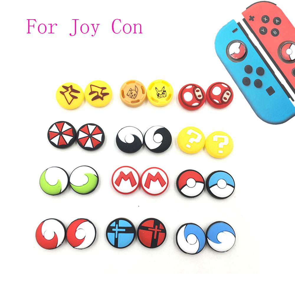1Pair=2PCS Colorful Silicone Thumb Stick Grip Joystick Cap Cover For Nintendo Switch Joy-Con