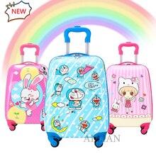 Роллинг багажа милый мультфильм дети багажа дети путешествия чемодан мальчики девочки тележка для багажа сумка 16/18 дюймов ручной кладью