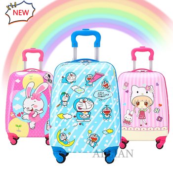 цена на Cartoon kids luggage travel suitcase children's rolling luggage Cute boys girls trolley luggage bag case 16/18 inch carry ons