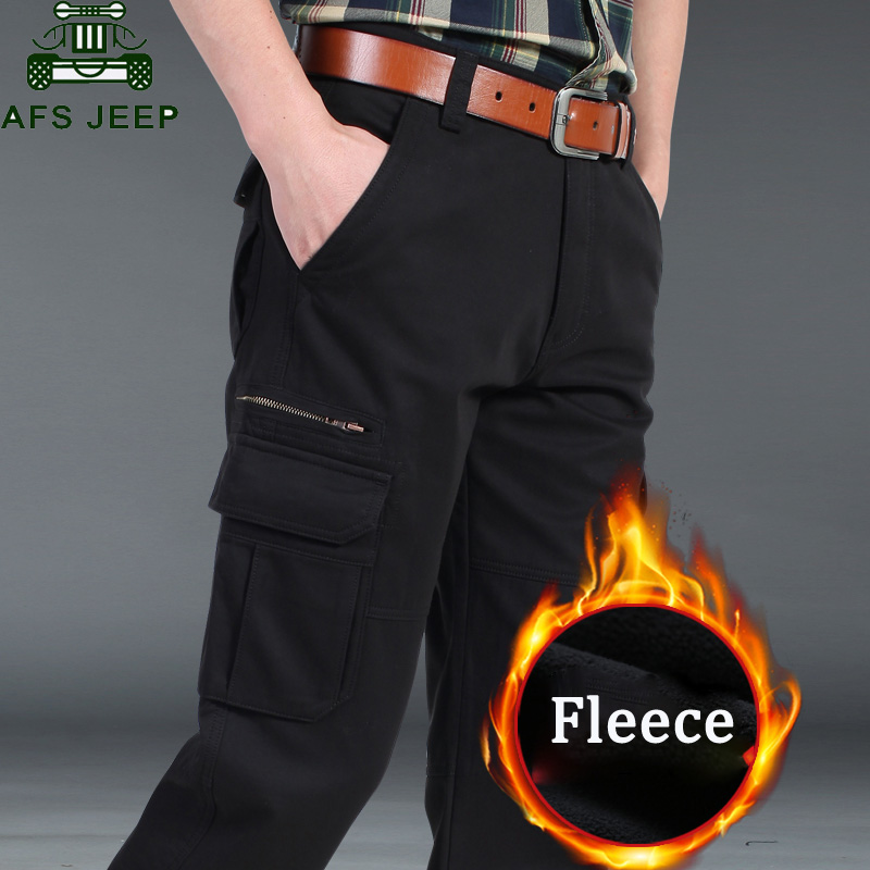 AFS JEEP Brand Autumn Winter Fleece Cargo Pants Men Thick Warm Long Military Pants Plus Size Pantalon Hombre Tactical Trousers