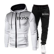 Moda masculina roupas sim chefe ternos esportivos de jogging com zíper agasalho homem casual moletom com capuz moletom + calça 2 peças conjunto